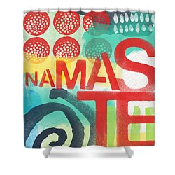Namaste- Contemporary Abstract Art Shower Curtain by Linda Woods
