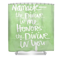 Namaste Green And White Shower Curtain by Linda Woods