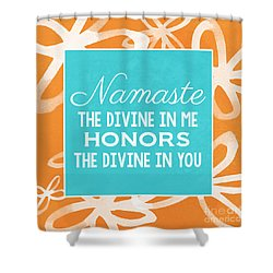 Namaste Watercolor Flowers Shower Curtain by Linda Woods