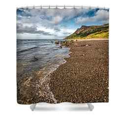 Nant Gwrtheyrn Shore Shower Curtain by Adrian Evans