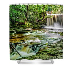 Nant Mill Waterfall Shower Curtain by Adrian Evans