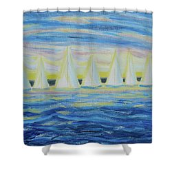 Nantucket Sunrise Shower Curtain by Diane Pape