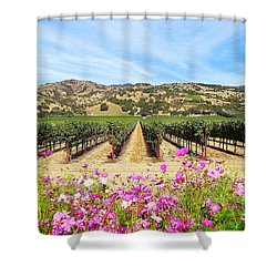 Napa Valley Vineyard With Cosmos Shower Curtain