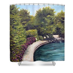 Shower Curtain featuring the painting Naperville Riverwalk II by Debbie Hart