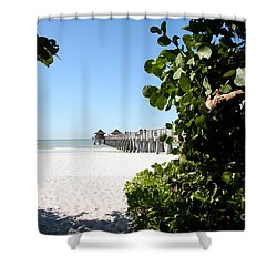 Naples Pier View Shower Curtain by Christiane Schulze Art And Photography