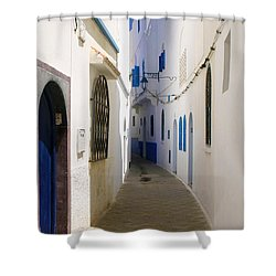Shower Curtain featuring the photograph Narrow Backstreet In The Medina Of Asilah On Northwest Tip Of Atlantic Coast Of Morocco by Ralph A  Ledergerber-Photography