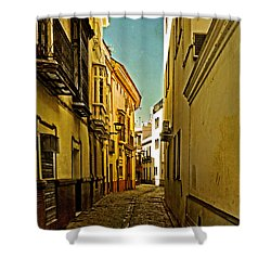 Narrow Street In Seville Shower Curtain by Mary Machare