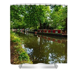 Narrowboats Moored On The Wey Navigation In Surrey Shower Curtain by Louise Heusinkveld