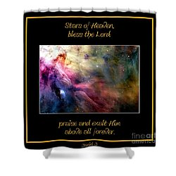 Nasa Ll Ori And The Orion Nebula Stars Of Heaven Bless The Lord Shower Curtain by Rose Santuci-Sofranko