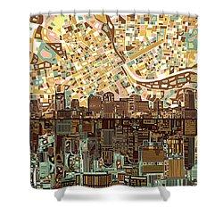 Nashville Skyline Abstract 4 Shower Curtain by Bekim Art