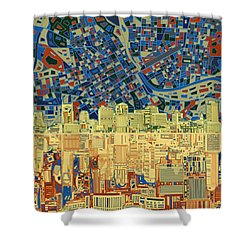 Nashville Skyline Abstract 9 Shower Curtain by Bekim Art