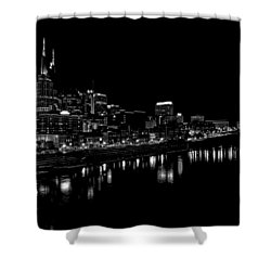Nashville Skyline At Night In Black And White Shower Curtain by Dan Sproul
