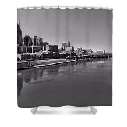 Nashville Skyline In Black And White At Day Shower Curtain by Dan Sproul