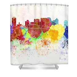 Nashville Skyline In Watercolor Background Shower Curtain by Pablo Romero