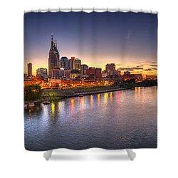 Nashville Skyline Panorama Shower Curtain by Brett Engle