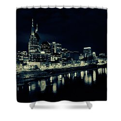 Nashville Skyline Reflected At Night Shower Curtain by Dan Sproul