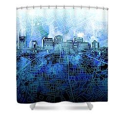 Nashville Skyline Watercolor 3 Shower Curtain
