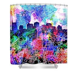 Nashville Skyline Watercolor 5 Shower Curtain by Bekim Art