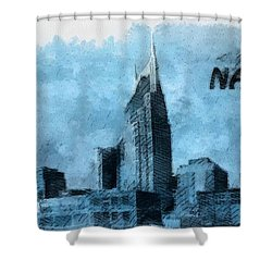 Nashville Tennessee In Blue Shower Curtain by Dan Sproul