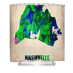 Nashville Watercolor Map Shower Curtain by Naxart Studio