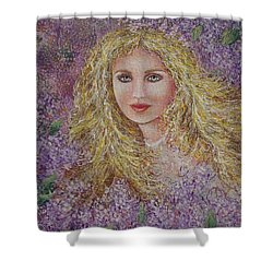 Shower Curtain featuring the painting Natalie In Lilacs by Natalie Holland