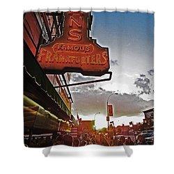 Shower Curtain featuring the photograph Nathan's Famous Coney Island Sunset Frankfurters by Andy Prendy