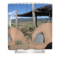 Shower Curtain featuring the photograph Native American Adobe Ovens In New Mexico by Dora Sofia Caputo Photographic Art and Design