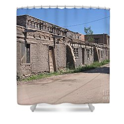 Shower Curtain featuring the photograph Native American Adobe Pueblo by Dora Sofia Caputo Photographic Art and Design