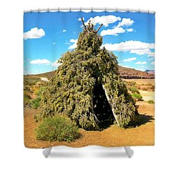 Native American Desert Cedar Lodge Shower Curtain by John Malone