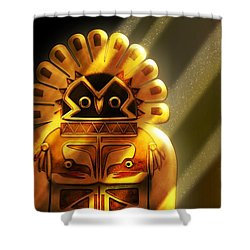 Native American Hawk Spirit Gold Idol Shower Curtain