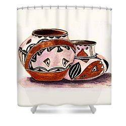 Shower Curtain featuring the painting Native American Pottery by Paula Ayers