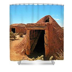 Native American Shelters Shower Curtain by John Malone