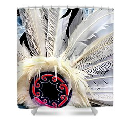 Native American White Feathers Headdress Shower Curtain