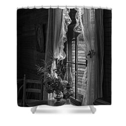 Native Flowers In Vase And Ruffled Curtains Shower Curtain by Lynn Palmer