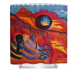 Native Women At Window Rock Square Shower Curtain
