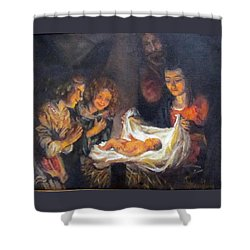 Shower Curtain featuring the painting Nativity Scene Study by Donna Tucker