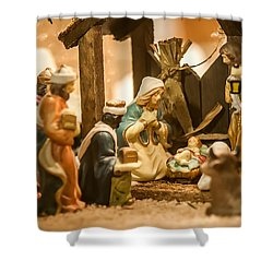 Shower Curtain featuring the photograph Nativity Set by Alex Grichenko