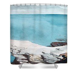 Shower Curtain featuring the painting Natural Bridge Bermuda by Celestial Images