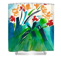Shower Curtain featuring the painting Natures Bouquet Abstract by Frank Bright