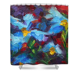 Nature's Palette - Himalayan Blue Poppy Oil Painting Meconopsis Betonicifoliae Shower Curtain by Talya Johnson