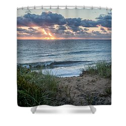 Nauset Light Beach Sunrise Square Shower Curtain