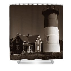 Nauset Lighthouse Shower Curtain by Skip Willits