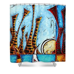 Nautical Coastal Art Original Contemporary Cityscape Painting City By The Bay By Madart Shower Curtain by Megan Duncanson