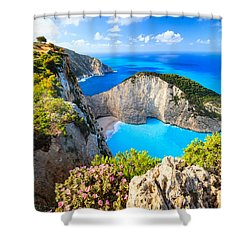Navagio Bay Shower Curtain
