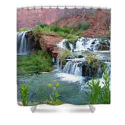 Shower Curtain featuring the photograph Navajo Falls by Alan Socolik