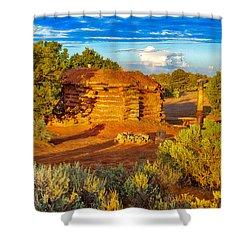 Navajo Hogan Canyon Dechelly Nps Shower Curtain by Bob and Nadine Johnston