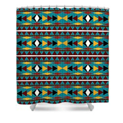 Navajo Teal Pattern Shower Curtain