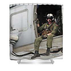 Naval Aircrewman Acts In An Sh-60b Sea Shower Curtain by Stocktrek Images