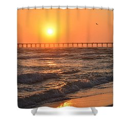 Shower Curtain featuring the photograph Navarre Beach And Pier Sunset Colors With Birds And Waves by Jeff at JSJ Photography