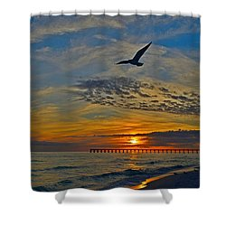 Shower Curtain featuring the photograph Navarre Beach And Pier Sunset Colors With Gulls And Waves by Jeff at JSJ Photography